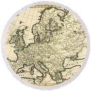Map Of Europe Round Beach Towel by Guillaume Raynal