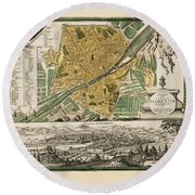 Map Of Florence 1731 Round Beach Towel