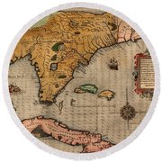 Map Of Florida 1591 Round Beach Towel