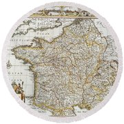 Map Of France, 1627 Round Beach Towel
