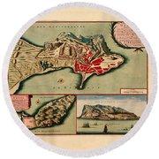 Map Of Gibraltar 1706 Round Beach Towel