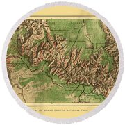 Map Of Grand Canyon 1926 Round Beach Towel