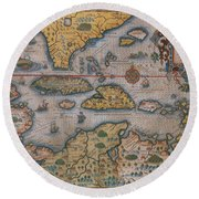 Map Of Gulf Of Mexico And C Round Beach Towel