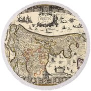 Map Of Holland 1630 Round Beach Towel