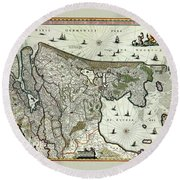 Map Of Holland 1682 Round Beach Towel