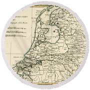 Map Of Holland Including The Seven United Provinces Of The Low Countries Round Beach Towel