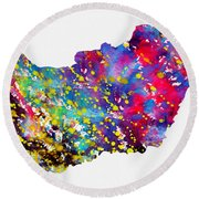 Map Of Hungary-colorful Round Beach Towel