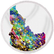 Map Of Idaho-colorful Round Beach Towel