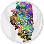 Map Of Illinois-colorful Round Beach Towel