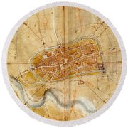 Map Of Imola 1502 Round Beach Towel