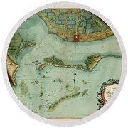 Map Of Jamaica 1756 Round Beach Towel