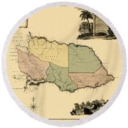 Map Of Jamaica 1763 Round Beach Towel