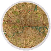 Map Of London England United Kingdom Vintage Street Map Schematic Circa 1899 On Old Worn Parchment  Round Beach Towel