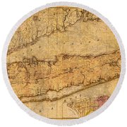 Map Of Long Island New York State In 1842 On Worn Distressed Canvas  Round Beach Towel