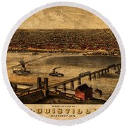 Map Of Louisville Kentucky Vintage Birds Eye View Aerial Schematic On Old Distressed Canvas Round Beach Towel