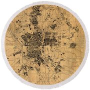 Map Of Madrid Spain Vintage Street Map Schematic Circa 1943 On Old Worn Parchment  Round Beach Towel