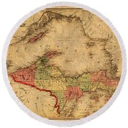 Map Of Michigan Upper Peninsula And Lake Superior Vintage Circa 1873 On Worn Distressed Canvas  Round Beach Towel