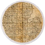 Map Of Michigan Vintage Railroad Train Routes Hand Drawn On Worn Distressed Old Canvas Round Beach Towel