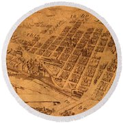 Map Of Minneapolis Minnesota Vintage Birds Eye View Aerial Schematic On Old Distressed Canvas Round Beach Towel