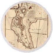 Map Of Monaco 1764 Round Beach Towel