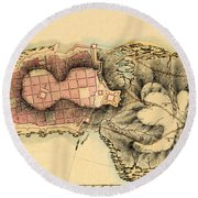Map Of Montevideo 1808 Round Beach Towel