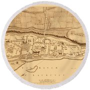 Map Of Montreal 1758 Round Beach Towel