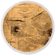Map Of Nashville 1860 Round Beach Towel