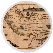 Map Of New Jersey 1672 Round Beach Towel