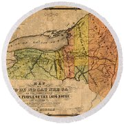 Map Of New York State Showing Original Indian Tribe Iroquois Landmarks And Territories Circa 1720 Round Beach Towel