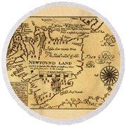 Map Of Newfoundland 1625 Round Beach Towel