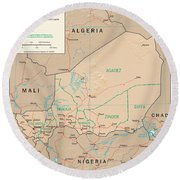 Map Of Niger Round Beach Towel