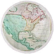 Map Of North America Round Beach Towel by English School