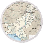 Map Of Pakistan Round Beach Towel