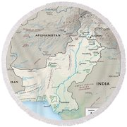Map Of Pakistan2  Round Beach Towel