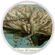 Map Of Panama Canal 1881 Round Beach Towel