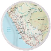 Map Of Peru 2 Round Beach Towel