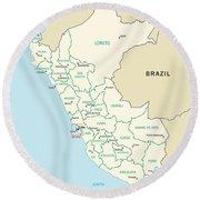 Map Of Peru Round Beach Towel