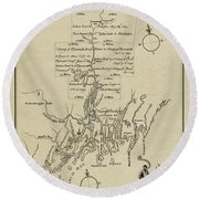 Map Of Plymouth Round Beach Towel