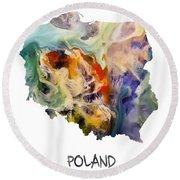 Map Of Poland Original Art Round Beach Towel
