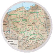 Map Of Poland Round Beach Towel