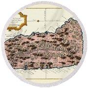Map Of Saint Lucia 1758 Round Beach Towel