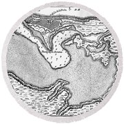 Map Of San Juan, 1766 Round Beach Towel