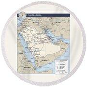 Map Of Saudi Arabia 2 Round Beach Towel