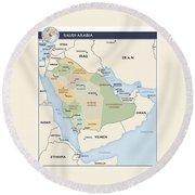 Map Of Saudi Arabia Round Beach Towel