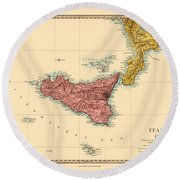 Map Of Sicily 1875 Round Beach Towel
