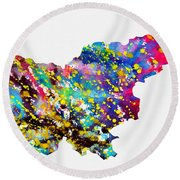 Map Of Slovenia-colorful Round Beach Towel
