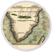 Map Of South Africa 1513 Round Beach Towel