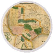Map Of Texas 1834 Round Beach Towel