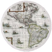 Map Of The Americas Round Beach Towel by Henricus Hondius