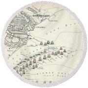 Map Of The Battle Of Copenhagen Round Beach Towel